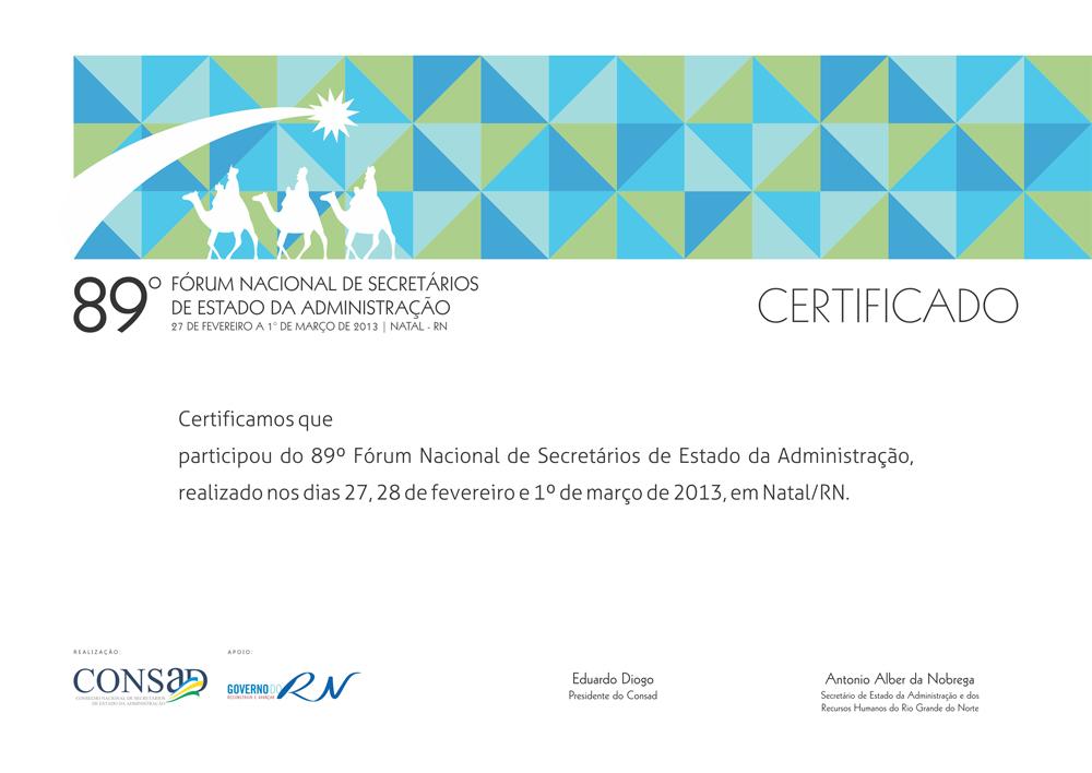 89 Forum Consad - Certificado