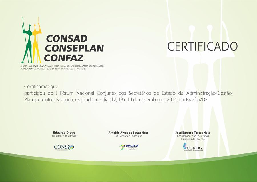 I Forum Conjunto - Certificado